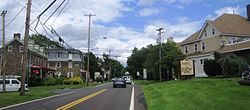 Approaching Penns Park Road from northbound Second Street Pike (PA 232)