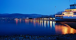 Penticton waterfront and the SS Sicamous at night
