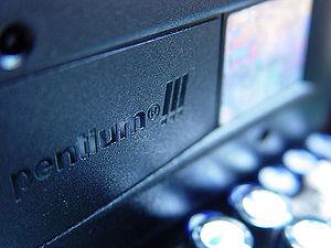 Pentium III - Slot 1 Pentium III CPU mounted on a motherboard