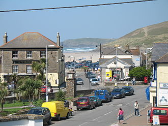 Perranporth - Perranporth town centre, with the beach in the background