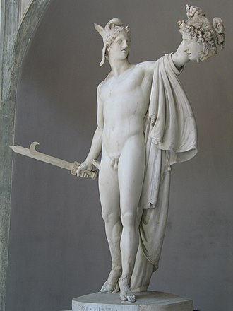 "Harpe - ""Perseus with the Head of Medusa"" depicts Perseus armed with a harpe sword when he beheaded Medusa."