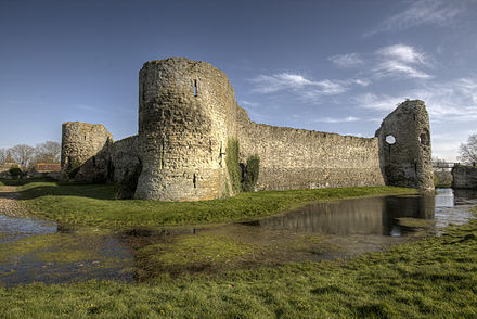 The walls of the inner ward at Pevensey Castle are typically attributed to Peter of Savoy's tenure Pevensey Castle inner bailey exterior.jpg
