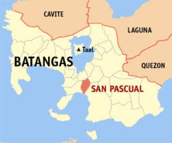 Map of Batangas showing the location of San Pascual.