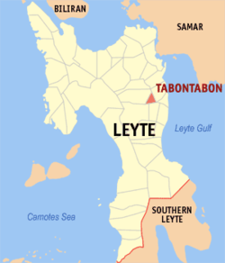 Map of Leyte with Tabontabon highlighted