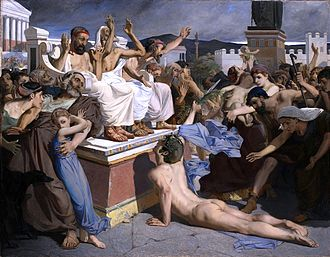 Pheidippides - Painting of Pheidippides as he gave word of the Greek victory over Persia at the Battle of Marathon to the people of Athens. Luc-Olivier Merson, 1869