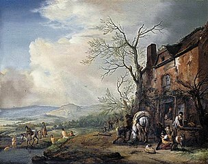Landscape with peasants by an inn, a pack-horse being fed and bathers by a stream beyond