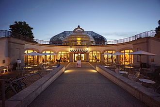 Phipps Conservatory and Botanical Gardens - The Welcome Center, completed in 2005, features a neo-Victorian dome illuminated by a Chihuly chandelier.