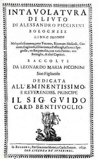 Alessandro Piccinini - Intavolaturo di Liuto title page, 1639.