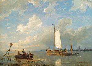 Pieter Cornelis Dommersen - Schepen in een Nederlandse estuarium bij laag tij.jpg