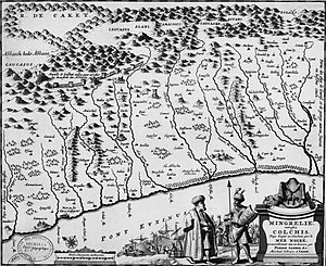 Kelasuri Wall - The wall is shown on this 17th century map in the upper reaches of Galidzga, Okum and Eris-Tskari rivers (top left corner)