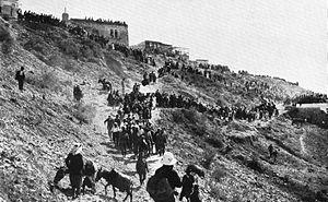 Meiron - Jewish pilgrims on the way to Meiron, c. 1920.