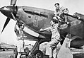 Pilots discuss a sortie by the nose of a Hawker Hurricane Mk IIC of No. 224 Group RAF in north-eastern India, 1943. CI278.jpg