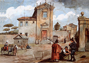 Achille Pinelli - Pinelli's watercolor of the Church of Domine Quo Vadis, Rome