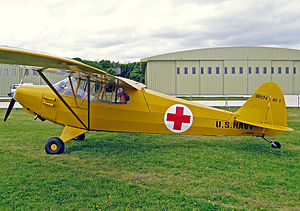 Piper J-5 - Ex US Navy Piper AE-1 showing the hinged rear decking for access for ambulance work