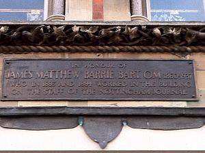 Nottingham Journal - Plaque to mark the employment of J. M. Barrie at the Nottingham Journal offices