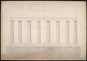 National Monument of Scotland - Drawing of the front elevation of the Western Portico of the National Monument of Scotland, by William Henry Playfair, dated 1826