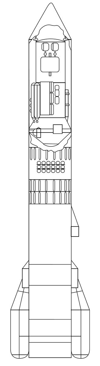 Polyus (spacecraft) - Cutaway drawing of the Polyus spacecraft