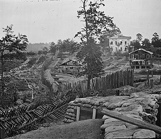 Battle of Atlanta - Palisades and chevaux de frise in front of the Potter (or Pondor) House, Atlanta, Georgia, 1864