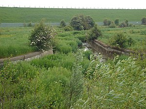 Ponders End - South Marsh, Overflow Channel and the grassed embankment of the King George V Reservoir