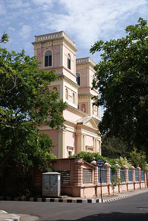 Our Lady of Angels Church, Puducherry - Side view of the church