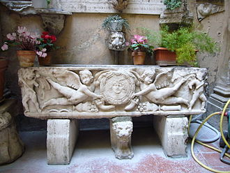 Santa Maria dell'Anima - Roman sarcophagus in the courtyard.