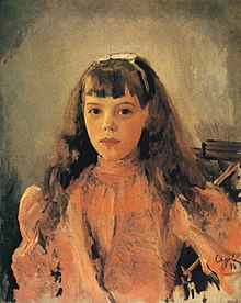 Oil painting of Olga as a girl