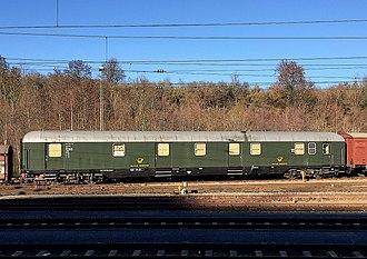 Deutsche Bundespost - Postal railway wagon of Deutsche Bundespost in Rottweil