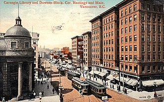Downtown Eastside - The corner of Hastings and Main, c. 1912