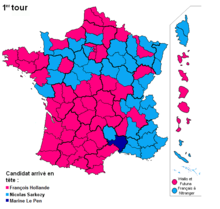 Marine le pen wikipedia first round results candidates with the most votes by departments mainland france overseas and french citizens living abroad marine le pen came first fandeluxe Gallery