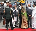 Pratibha Devisingh Patil being seen off by the Prime Minister, Dr. Manmohan Singh and his cabinet colleagues on her departure to the Russian Federation & Republic of Tajikistan, in New Delhi on September 02, 2009 (1).jpg