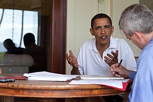 Reactions to the Northwest Airlines Flight 253 attack - President Obama discusses the incident with National Security Council chief of staff Denis McDonough at the Kailua Winter White House on December 29, 2009.