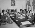 President Truman and his cabinet in the Cabinet Room of the White House. Clockwise around table from left, Secretary... - NARA - 199651.tif