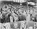 President Truman attends the opening baseball game at Griffith Stadium in Washington, D. C. between Washington and... - NARA - 199756.jpg