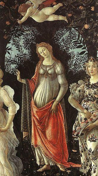 Primavera (painting) - Venus standing in her arch.