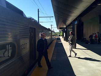 Princeton station (NJ Transit) - The 2014 Princeton station with a train at the station.