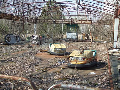 Abandoned bumper cars at a theme park in Pripyat, Ukraine, which was evacuated after the Chernobyl nuclear accident