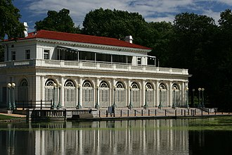 Boathouse on the Lullwater of the Lake in Prospect Park - Western side