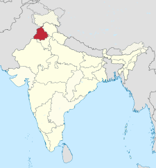 Map of India with the location of పంజాబ్ highlighted.