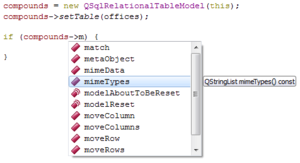 Autocomplete - Code completion in Qt Creator 5.0: The programmer types some code, and when the software detects a recognizable string such as a variable identifier or class name it presents a menu to the programmer which contains the complete name of the identified variable or the methods applicable to the detected class, and the programmer makes a choice with her or his mouse or with the keyboard arrow keys. If the programmer continues typing without making a choice, then the menu disappears