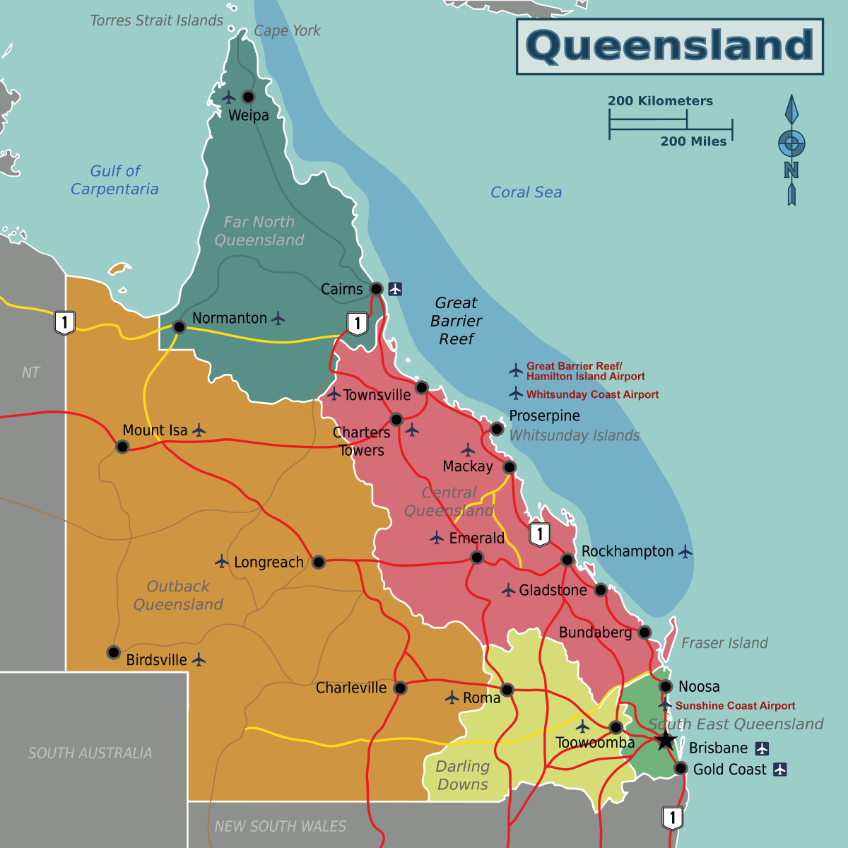 Queensland Travel Guide At Wikivoyage - Map of queensland australia with cities