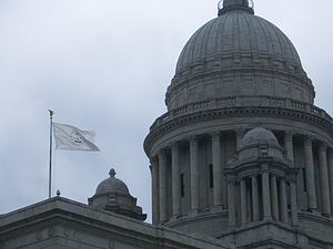 Flag of Rhode Island - Flag of Rhode Island flying over the State House in April 2008.