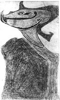Black-and-white photograph of a stylized sketch depicting a tribal funerary mask.