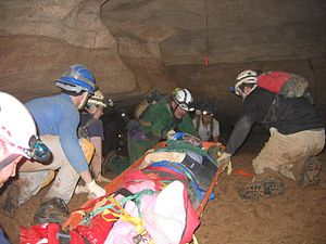 Cave rescue - Chattanooga/Hamilton County Cave Rescue Team transporting an injured caver with a dislocated ankle