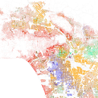 Map of racial distribution in Los Angeles, 2010 U.S. Census. Each dot is 25 people: White, Black, Asian, Hispanic or Other (yellow) Race and ethnicity 2010- Los Angeles (5560490330).png