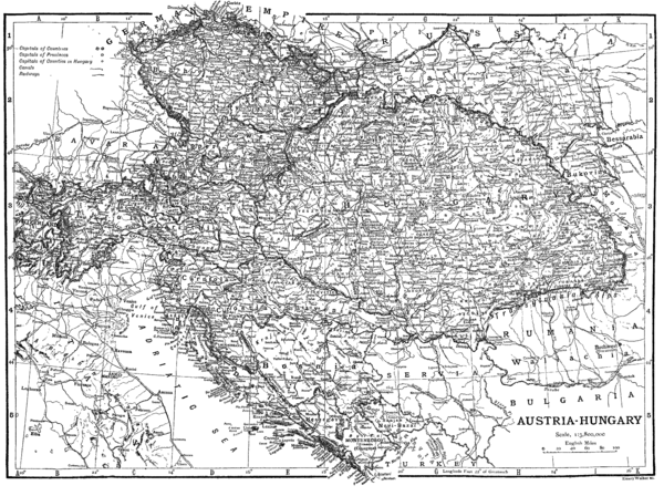 Detailed railway and canal map of Austria-Hungary in 1910 without Bosnia-Herzegovina Railway map Austria-Hungary.png