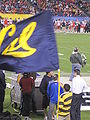 Rally Comm flagbearer celebrates Cal TD at 2009 Poinsettia Bowl 2.JPG