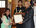 Ram Nath Kovind presenting the Nari Shakti Puruskar for the year 2017 to Beti Zindabad Bakery, Jashpur, Chhattisgarh (Institutional), at a function, on the occasion of the International Women's Day, at Rashtrapati Bhavan.jpg