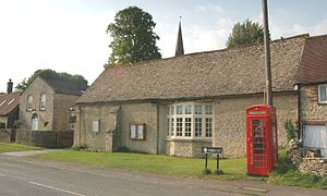 Ramsden, Oxfordshire - Parish memorial hall (right), former Methodist chapel (left background) and K6 telephone kiosk (right foreground)