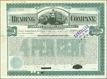Gold Bond of the Reading Company, issued 19. June 1902 Reading Company 1902.jpg