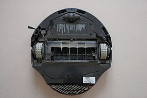 Robotic vacuum cleaner - A cleaning robot is seen from below